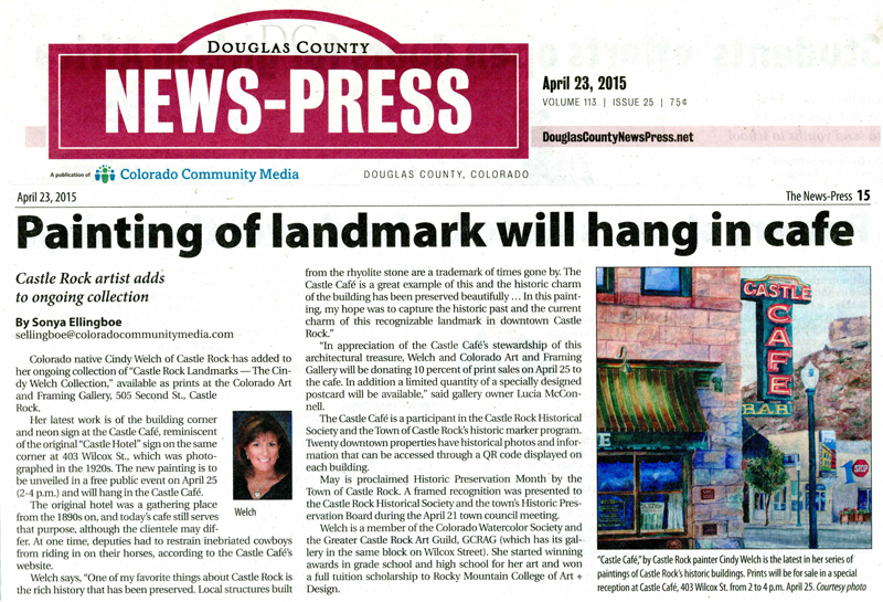 Douglas County News-Cindy Welch Landmark Will Hang in Cafe