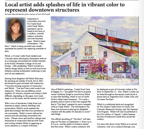 Article regarding Cindy Welch Design Art Castle Rock