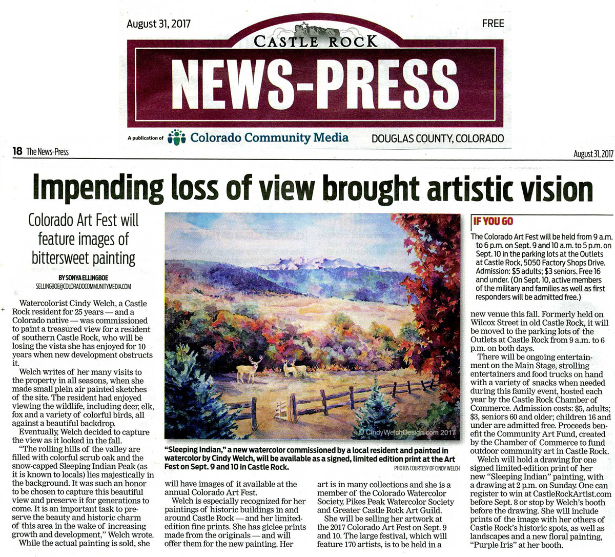 "Great Story About My Painting ""Sleeping Indian"" in the News"
