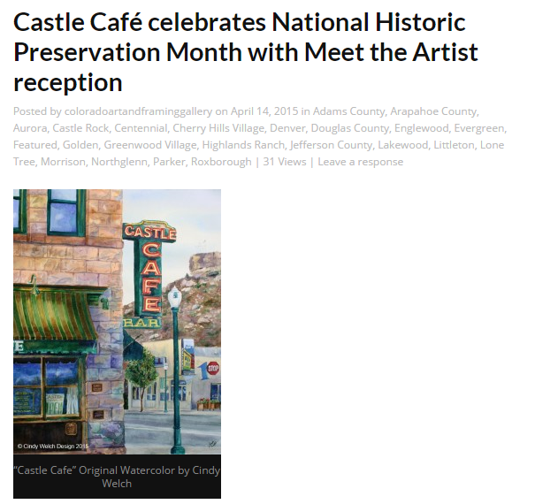 Castle Café celebrates National Historic Preservation Month with Meet the Artist reception-Cindy Welch