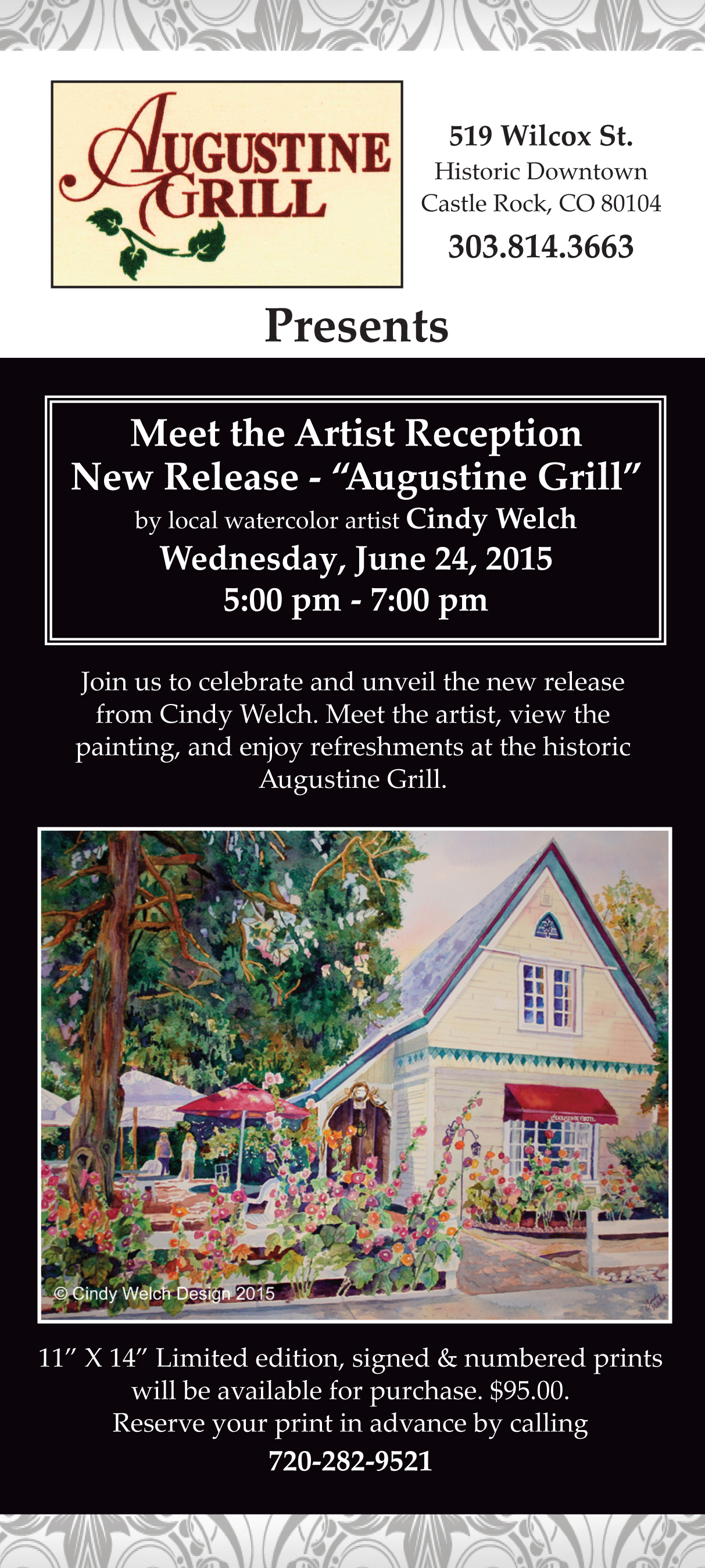 "Meet the Artist Reception-New Release ""Augustine Grill"" June 24th"