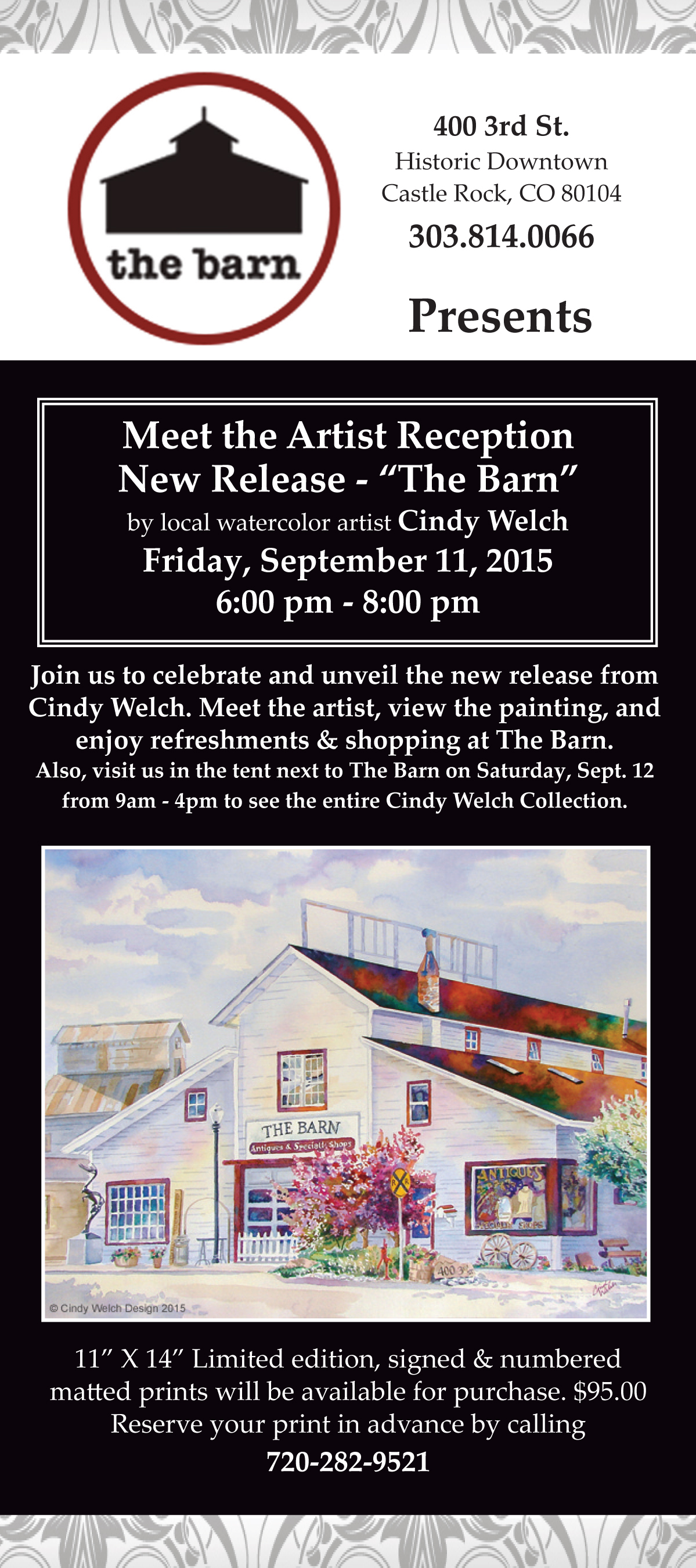 "Meet the Artist Reception, New Release- ""The Barn"" Friday, September 11th 2015"