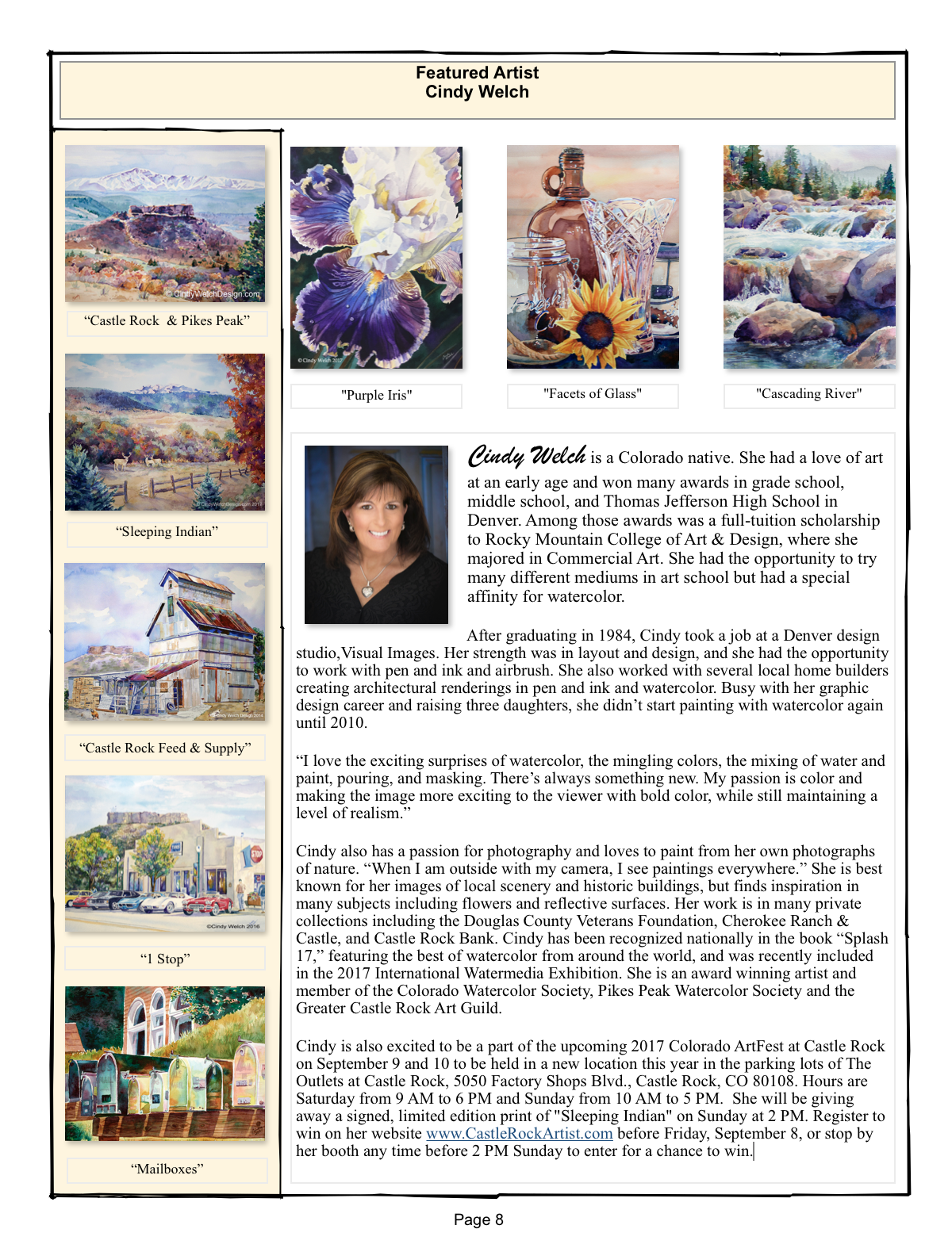 I am honored to be a featured artist is the September Pikes Peak Watercolor Society Newsletter